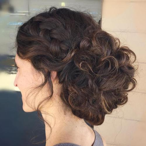 Low Bun Hairstyle for Long Wavy or Curly Hair